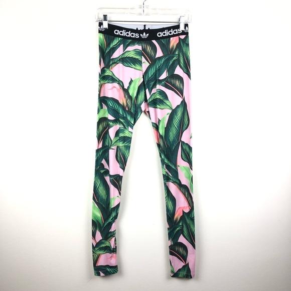 0614f6db162f1 adidas Pants | Originals X Farm Palm Leaves Pink Leggings | Poshmark